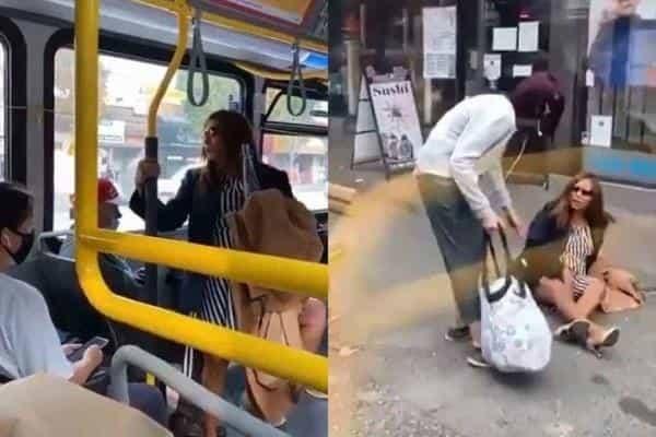 mujer arrojada autobús