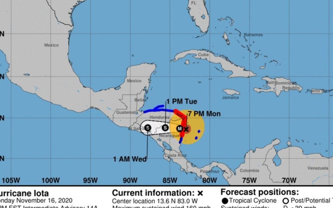 Alerta en Centroamérica ante la llegada del huracán Iota de categoría 5