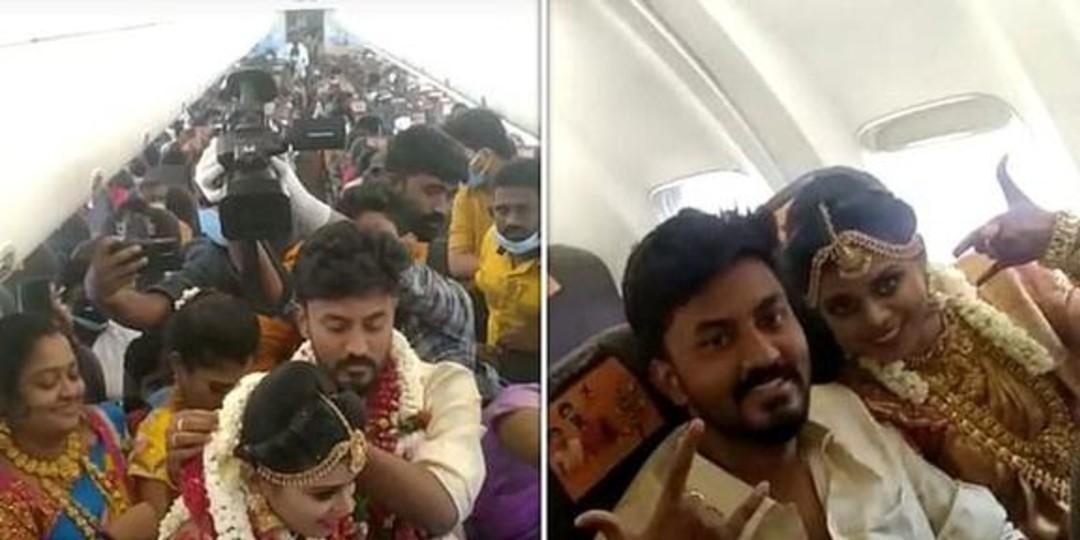 Indignación en India: Celebran boda en un avión durante confinamiento