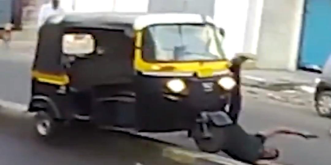 Video: Al intentar golpear a un perrito este hombre se accidentó
