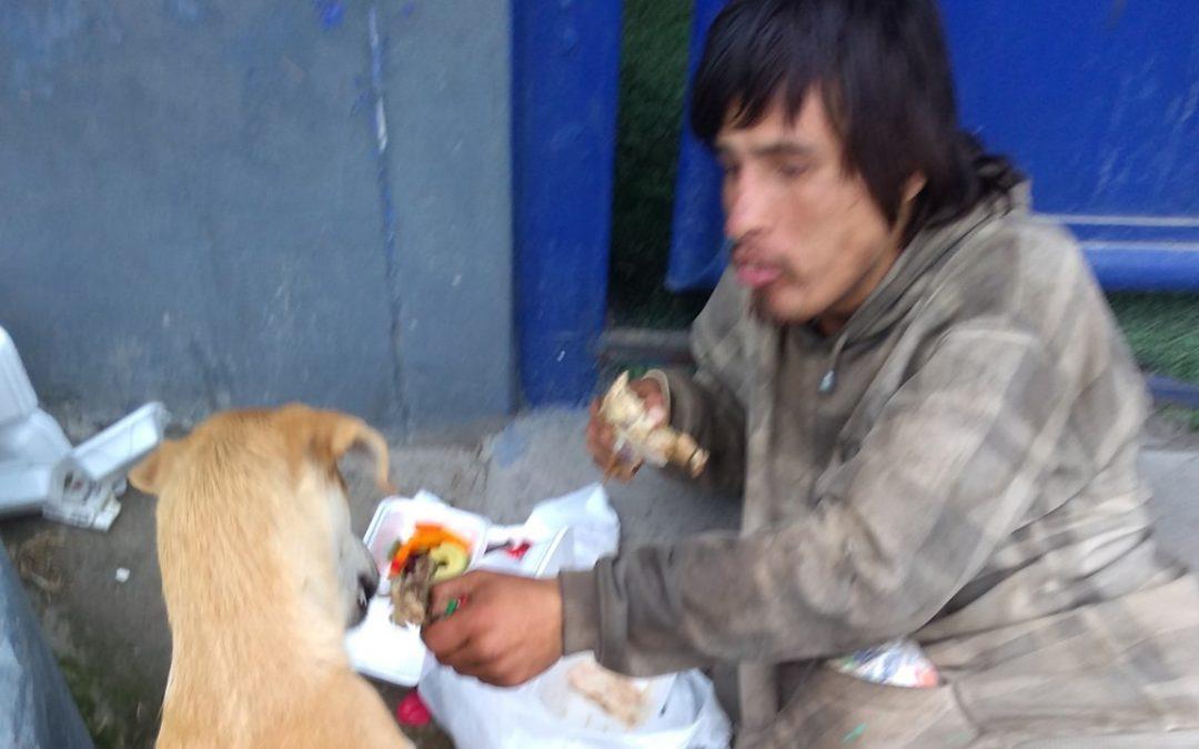 Así compartió un hombre sin hogar con su perrita la poca comida que le regalaron